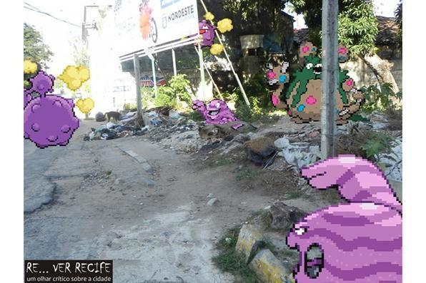 Mateus Mendonça lamenta: Pobre calçada, atingida por monstrengos do Pokémon. A calçada até que estava bem cuidada e preservada, mas o que fazer quando os inescrupulosos Weezing Koffing, Garbodor, Grimer e Muk decidem atacá-la?