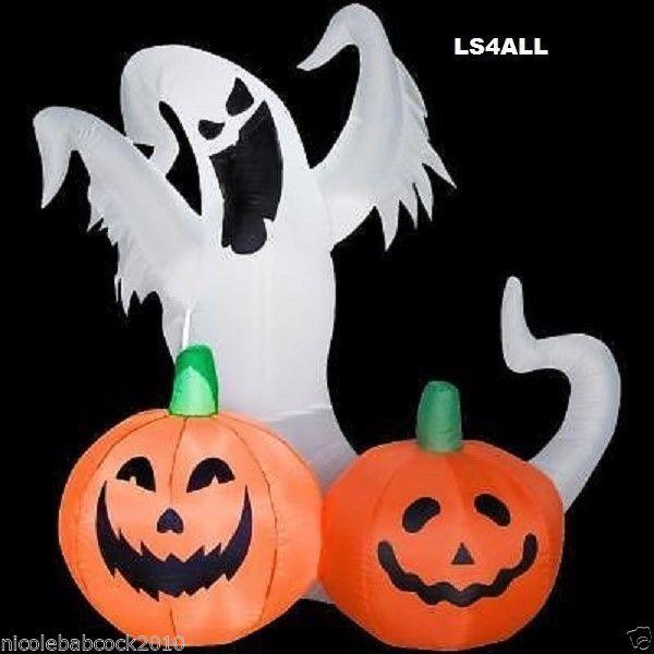 GEMMY AIRBLOWN CHOST AND PUMPKIN LIGHTED INFLATABLE 4FT YARD DECOR - halloween ghost decor