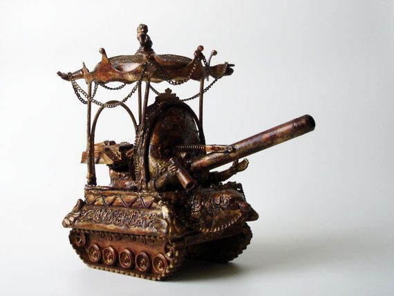 Baby Bang Tank Surrealistic Steam Punk Sculpture.One of a Kind.