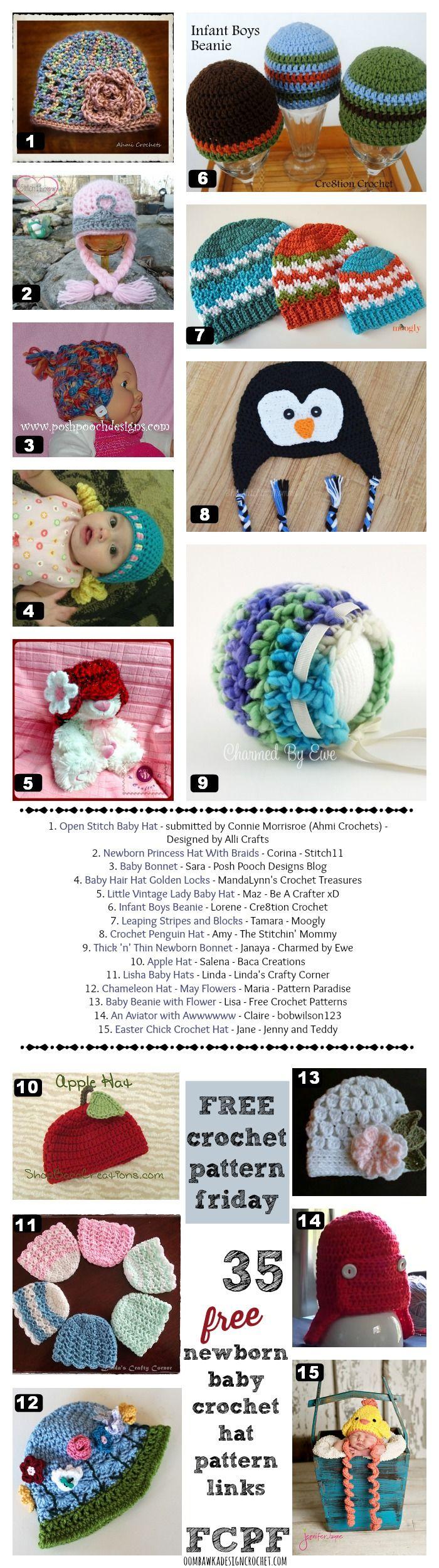 35 free newborn crochet hat patterns | Gorros, Tejido y Gorros para dama