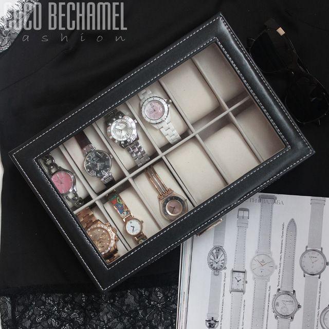 US $26.55 Beddom Watch Box Black Leather 12 Watches Box,Glass Top,Elegant Watches Display Case Box Collector Watches Storage Box Organizer aliexpress.com