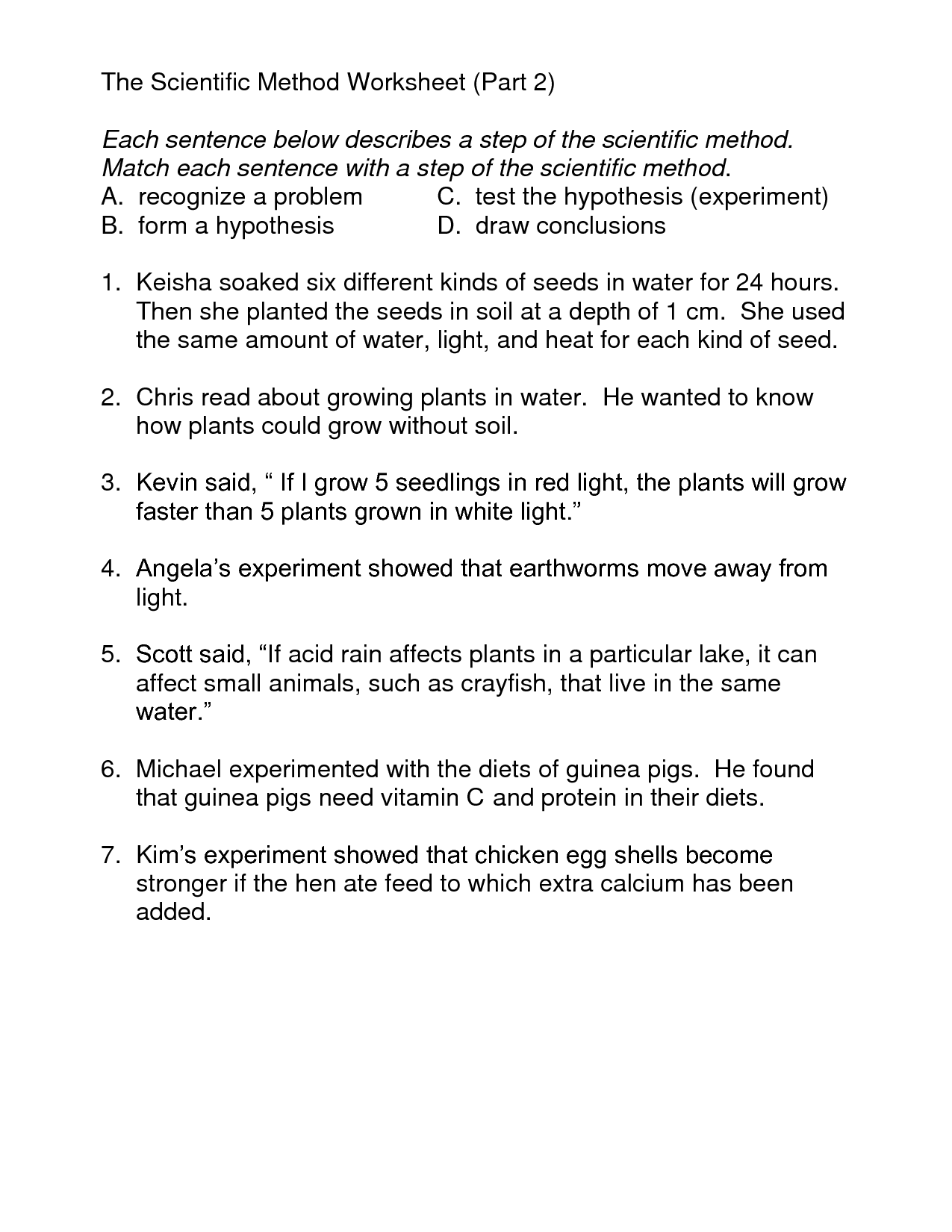 Middle School Scientific Method Worksheet – Writing a Hypothesis Worksheet