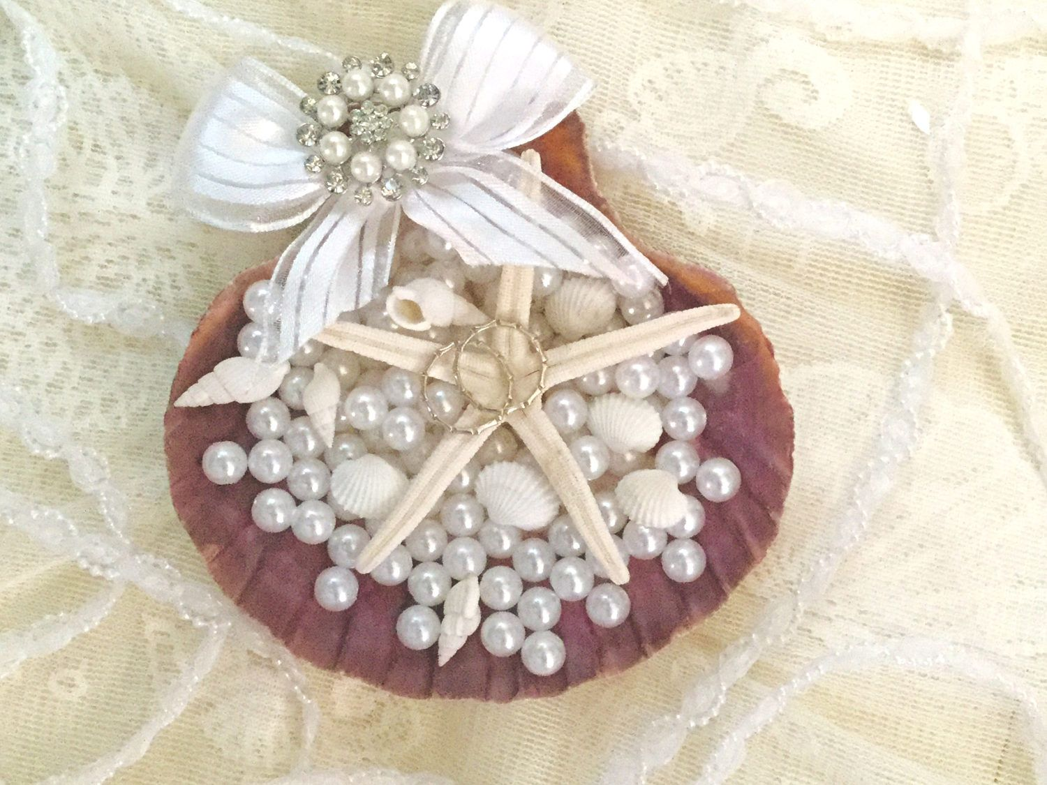 Beach Wedding Ring Pillow Beach Ring Bearer Box Seashell Wedding