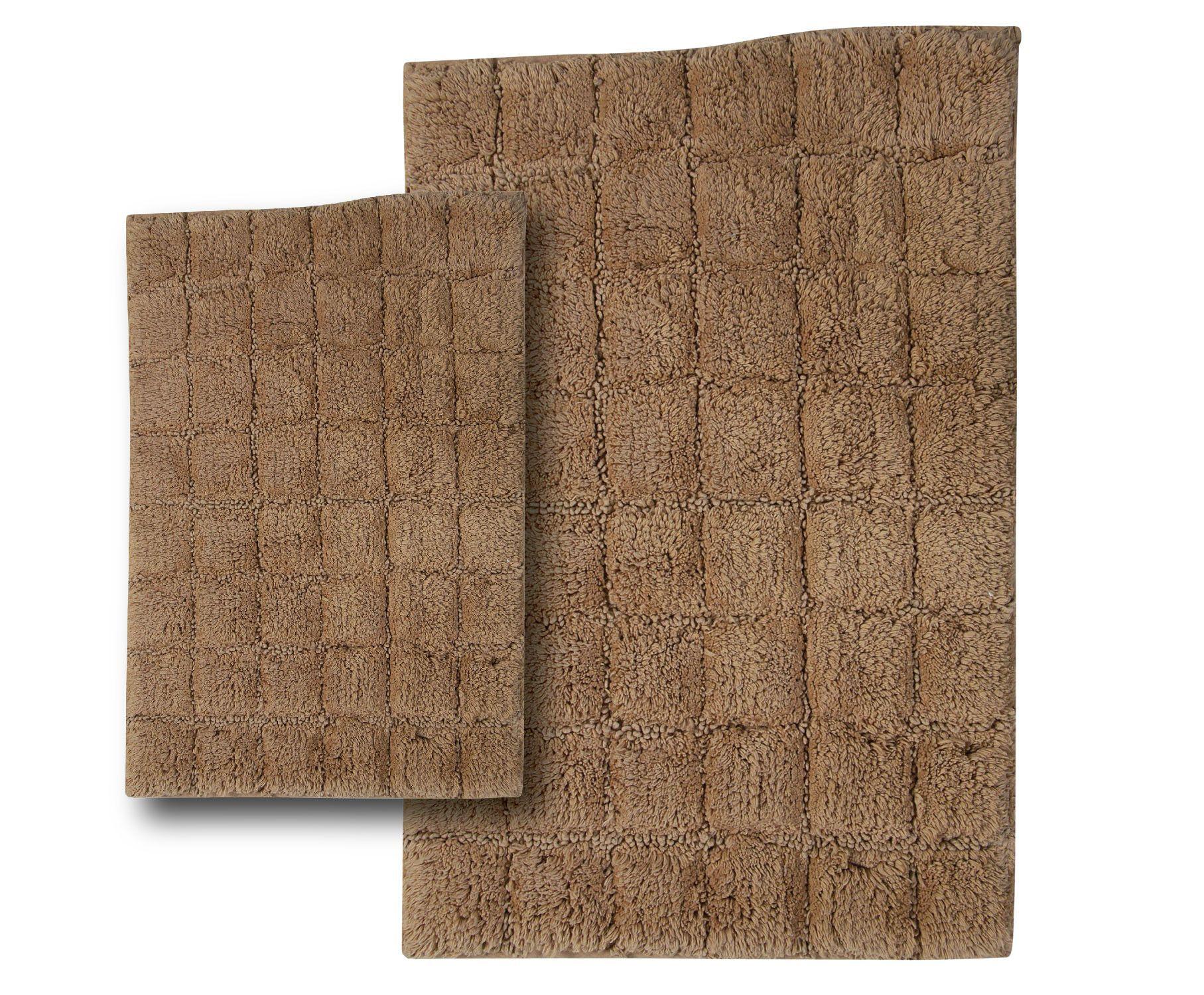 Castle 2 Piece 100% Cotton Summer Tile Spray Latex Bath Rug Set