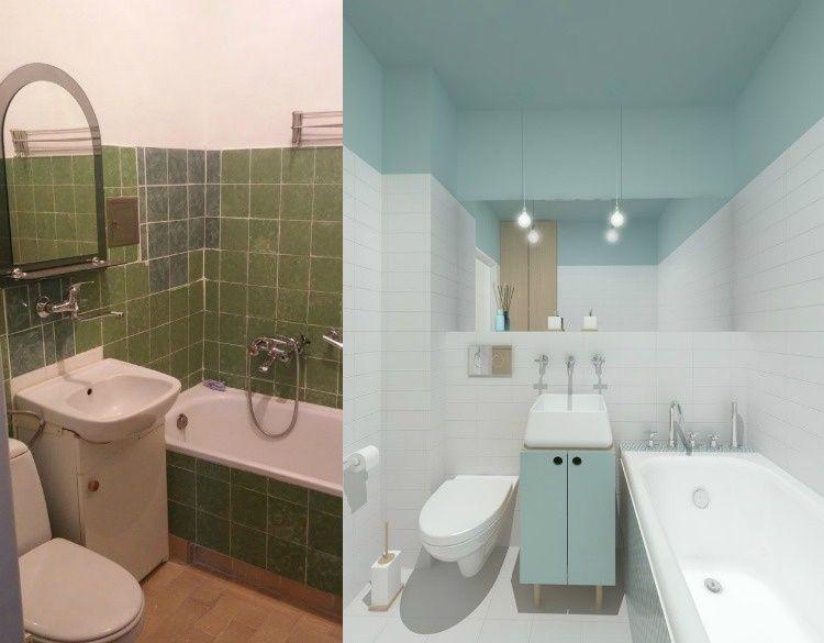 Renovation Appartement Salle Bains Carrelage Blanc Peinture Bleu Pastel Salle De Bains Design Carrelage Carrelage Salle De Bain Peinture Salle De Bain