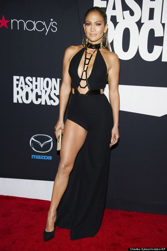 Jennifer Lopez The 2017 Fashion Rocks Red Carpet She Looks Stunning In Slinky Black Dress By Atelier Versace Complete With Gold Plated Detail