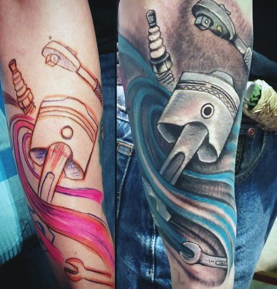 Mechanical piston tattoo skin ripping #piston # ...