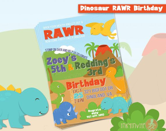dinosaur rawr birthday party invitation twins or siblings joint