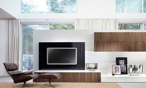Contemporary TV wall unit / in wood / lacquered wood TIME Besana