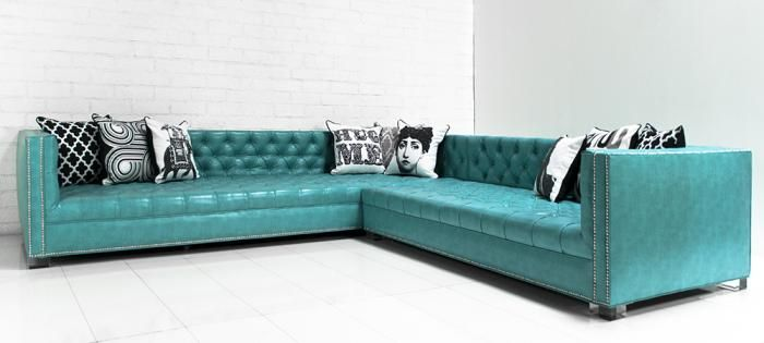 Turquoise Faux Leather Sectional