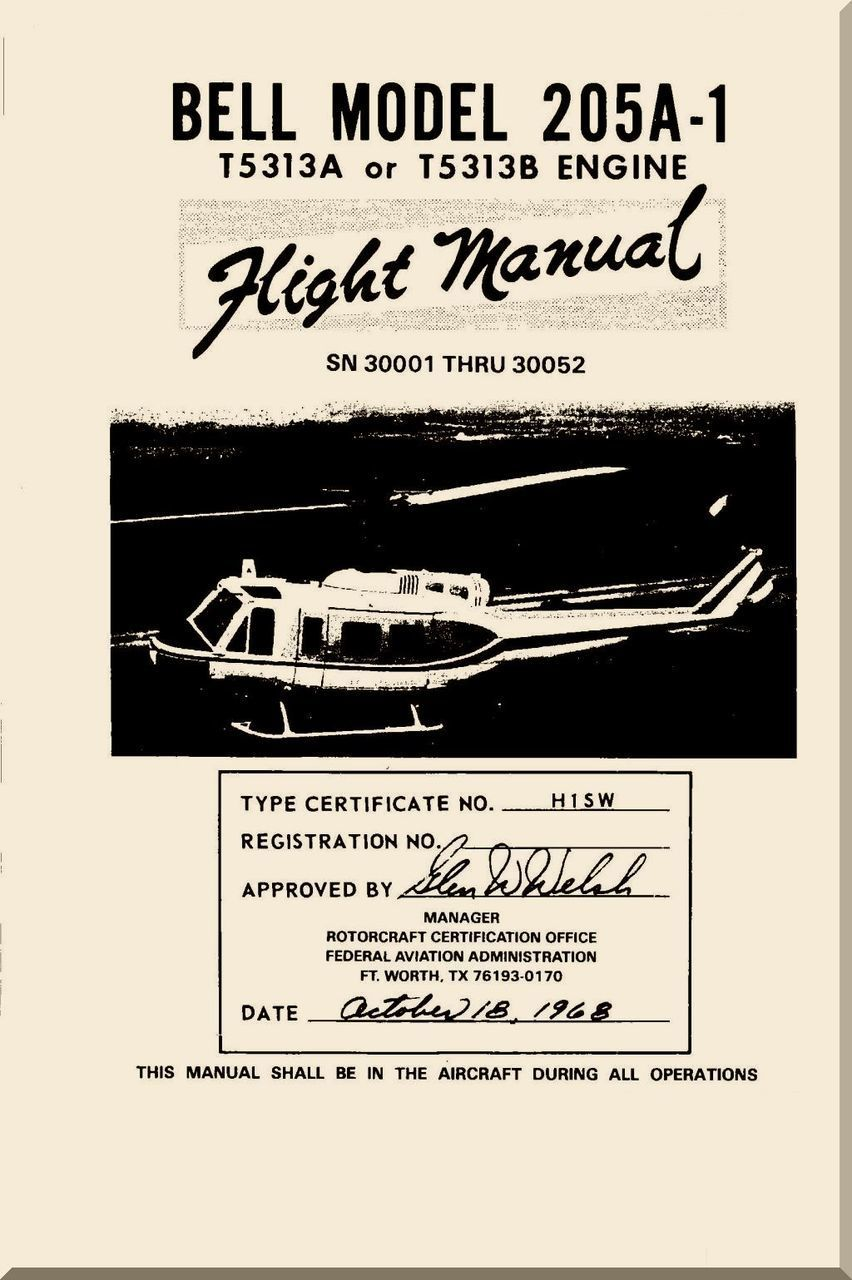 Bell Helicopter 205 A-1 Flight Manual - SN 3001 Thru 30050 - 1968 -  BHT-205A1-FM-1 - Aircraft Reports - Aircraft Manuals - Aircraft Helicopter  Engines ...