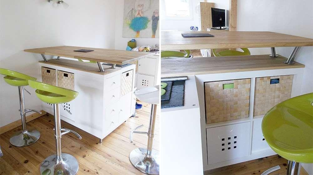 Îlot De Cuisine Meuble Expedit IKEA Home Deco Projets à - Meuble cuisine bar pour idees de deco de cuisine