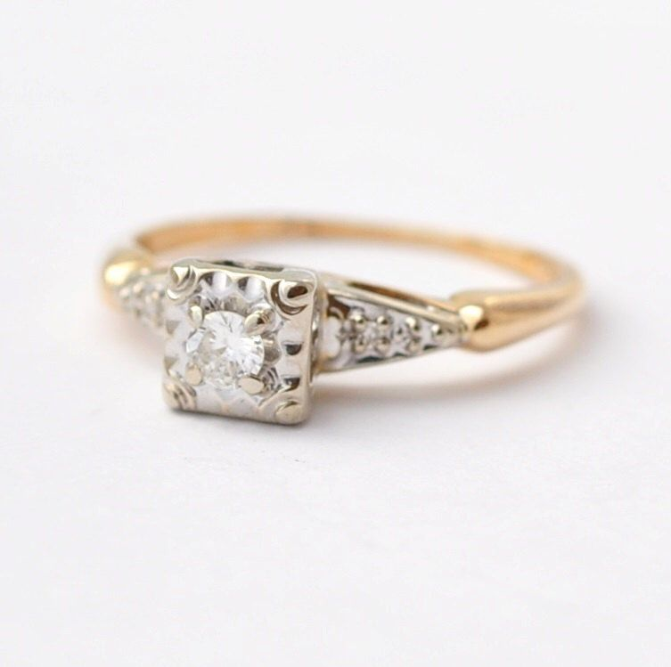 Diamond Rings: Vintage 14K Gold, Size 4.75 by BlueRidgeNotions on Etsy https://www.etsy.com/listing/244816721/diamond-rings-vintage-14k-gold-size-475