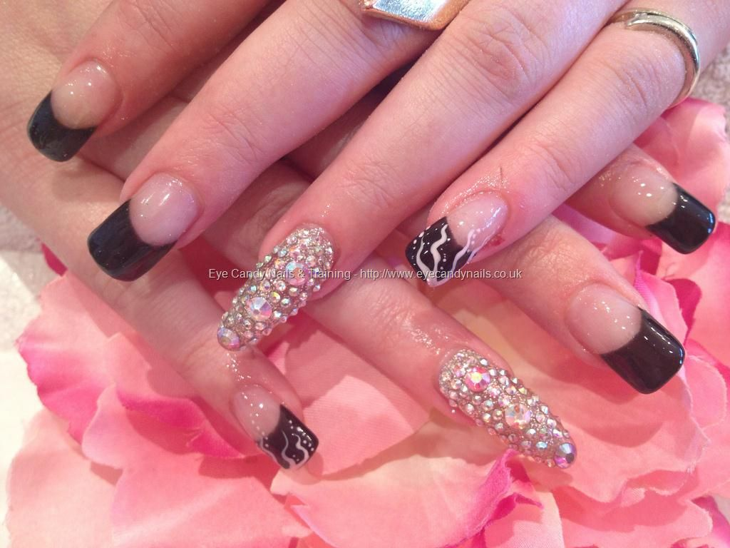Black gel tip with freehand nail art and swarovski crystal feature nail