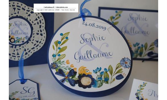 Faire-part mariage champêtre fleurs bleu