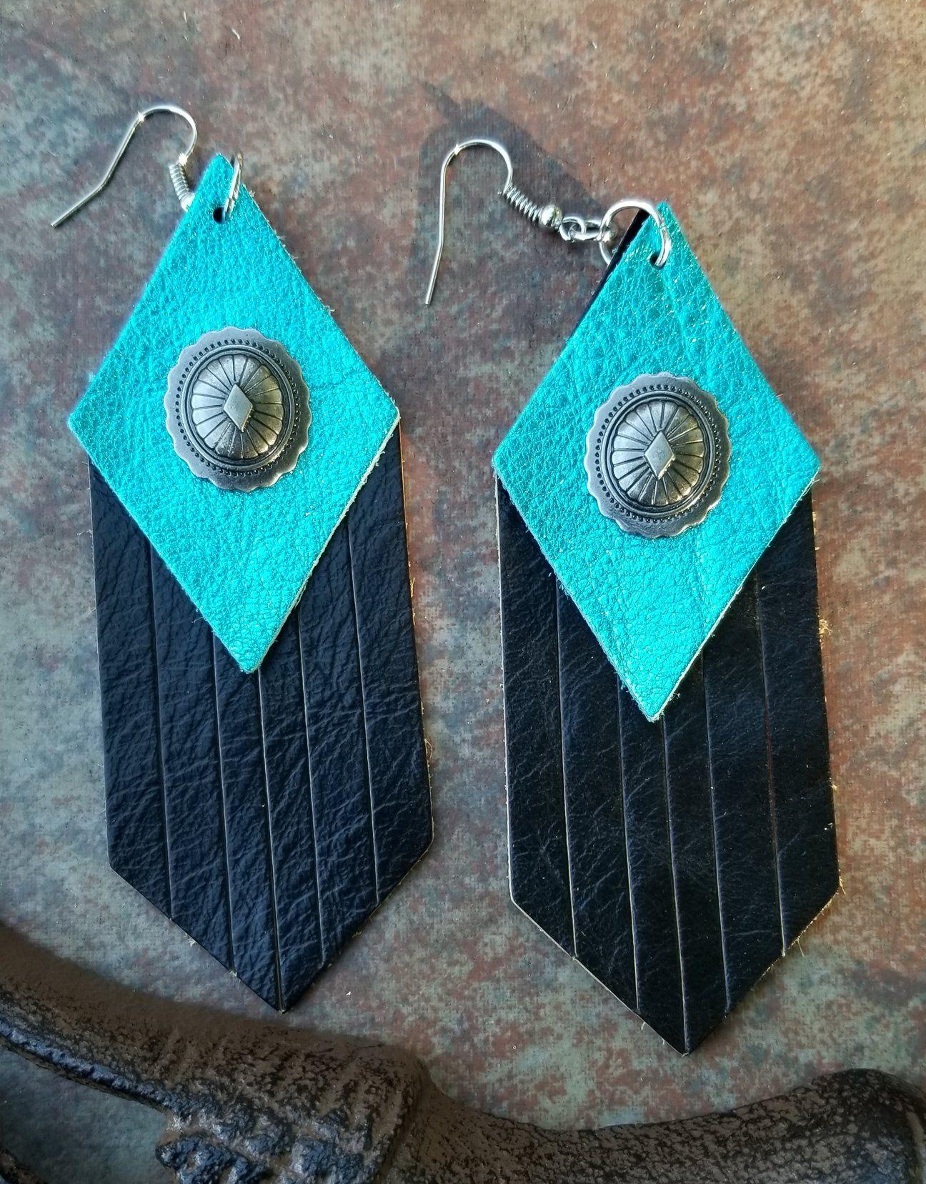 Photo of BAHA BLING 4 Concho Fringe Leather Earrings – Turquoise Fringe