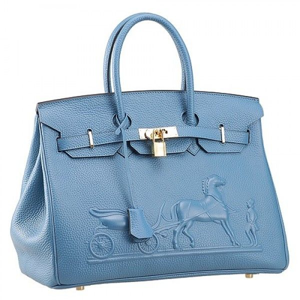 5b1a9a2eafc Hermes Birkin Horse Embossed Gold Hardware Totes Blue
