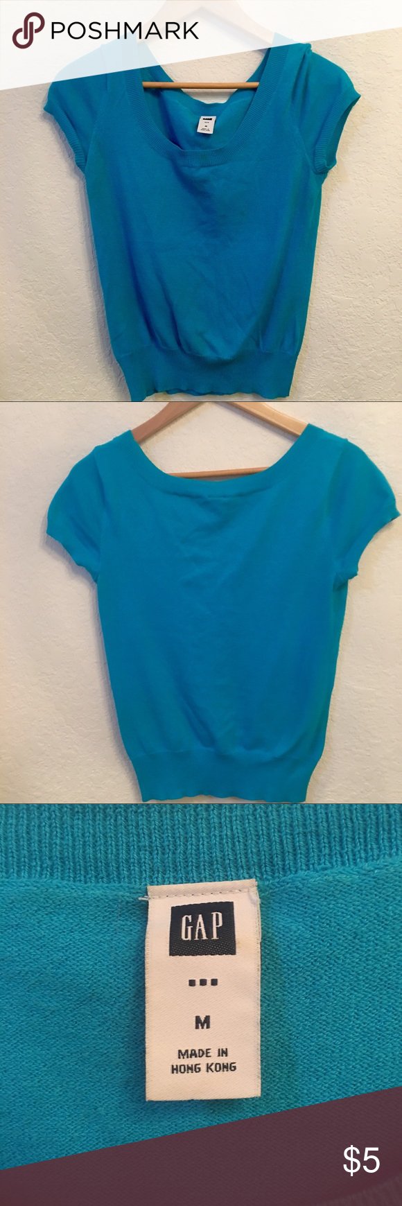 GAP Bright Blue Short Sleeve Sweater Sz M 76d257365