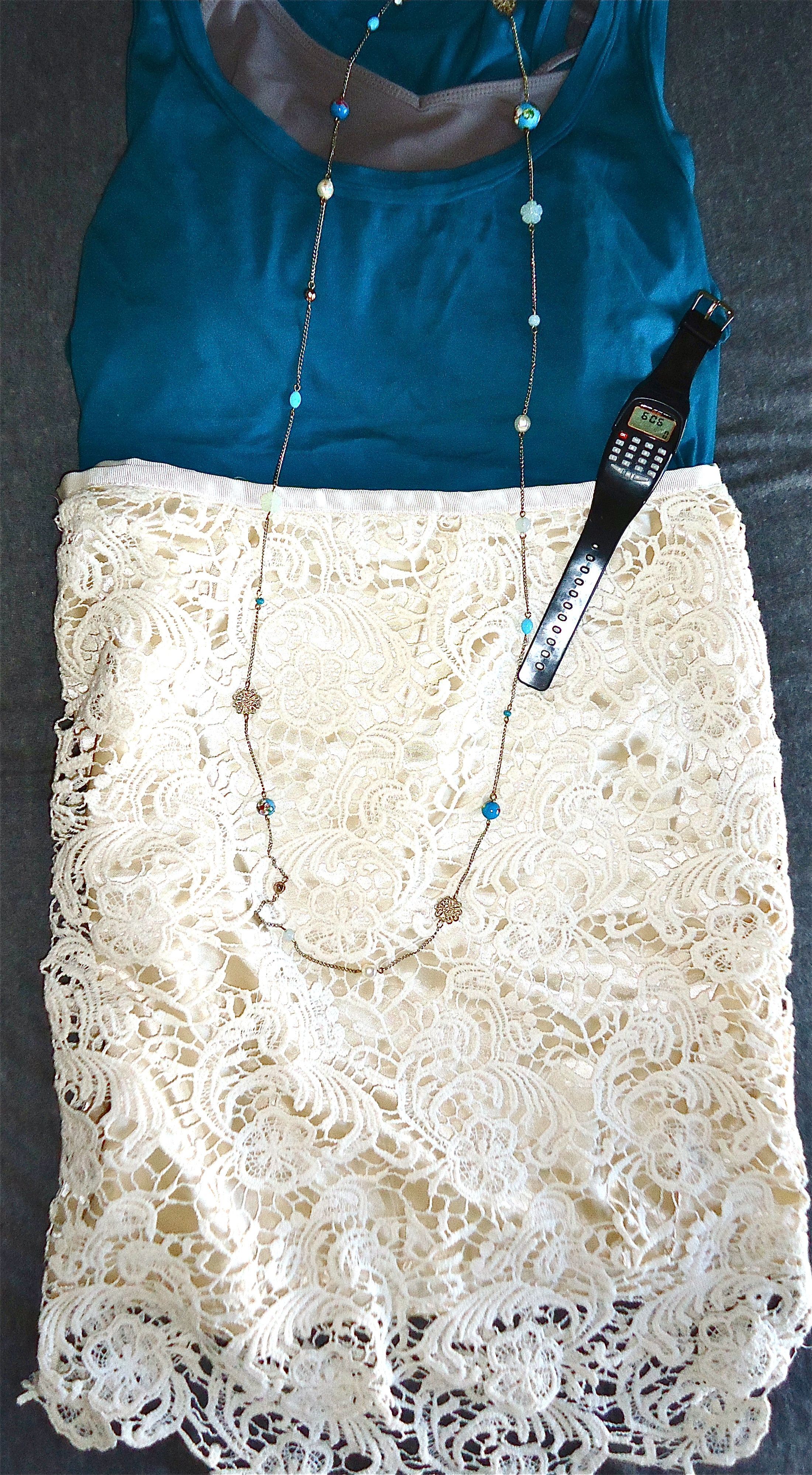 Pencil embroidered skirt, Blue tank top, long necklace, and a bit of funkiness with the calculator watch.   Xoxo w/Fashion