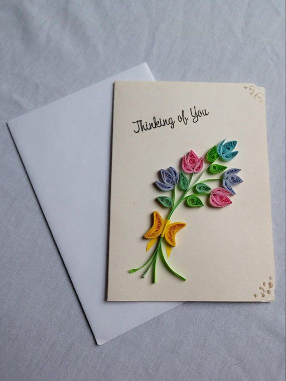 Quilled Flower Bouquet Thinking Of You Blank Greeting Card- Handmade Cards- Quilled Cards- Quilled Flowers- Blank Cards- Paper Quilled Cards