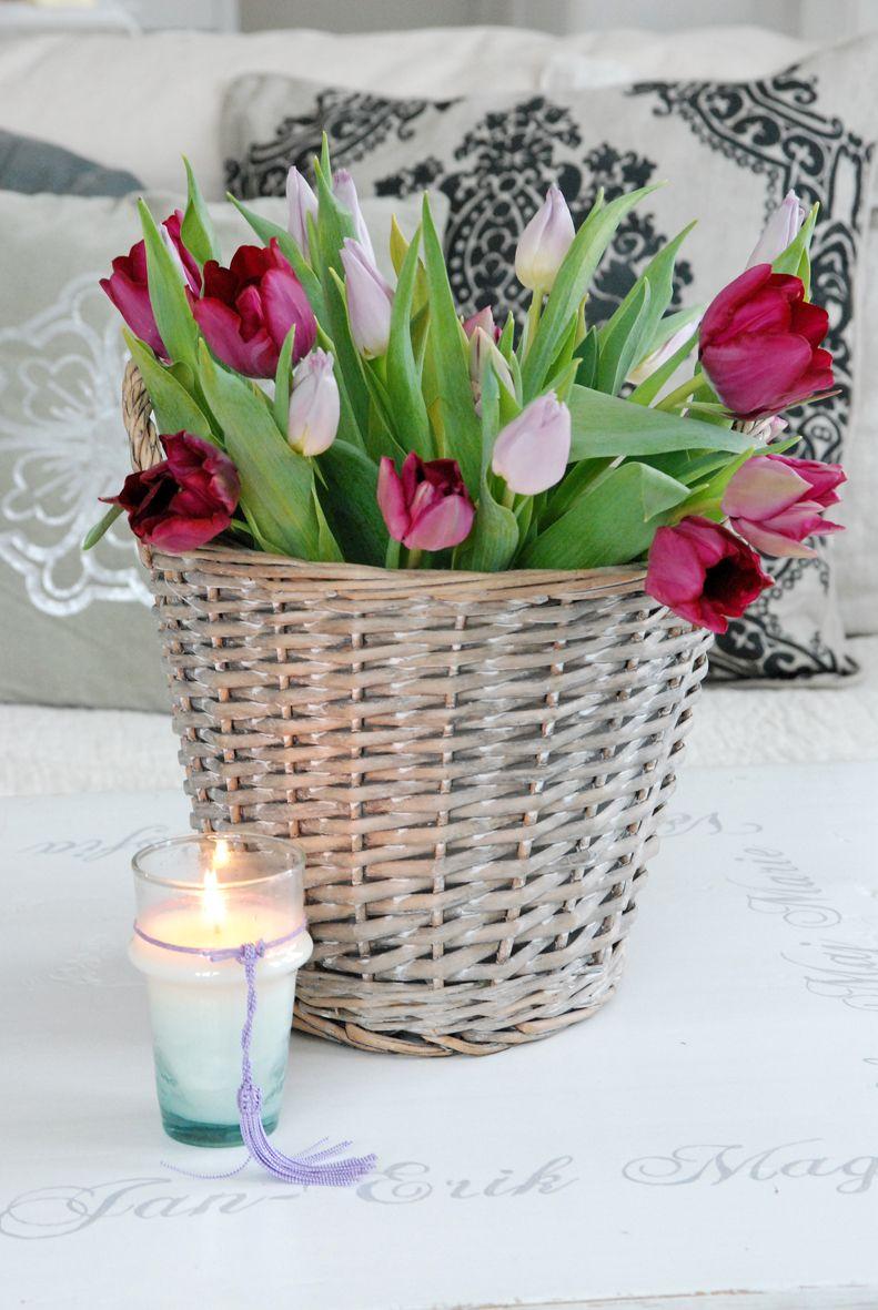Lovely tulips in a wicker basket find basket ideas at www lovely tulips in a wicker basket find basket ideas at basketlady izmirmasajfo