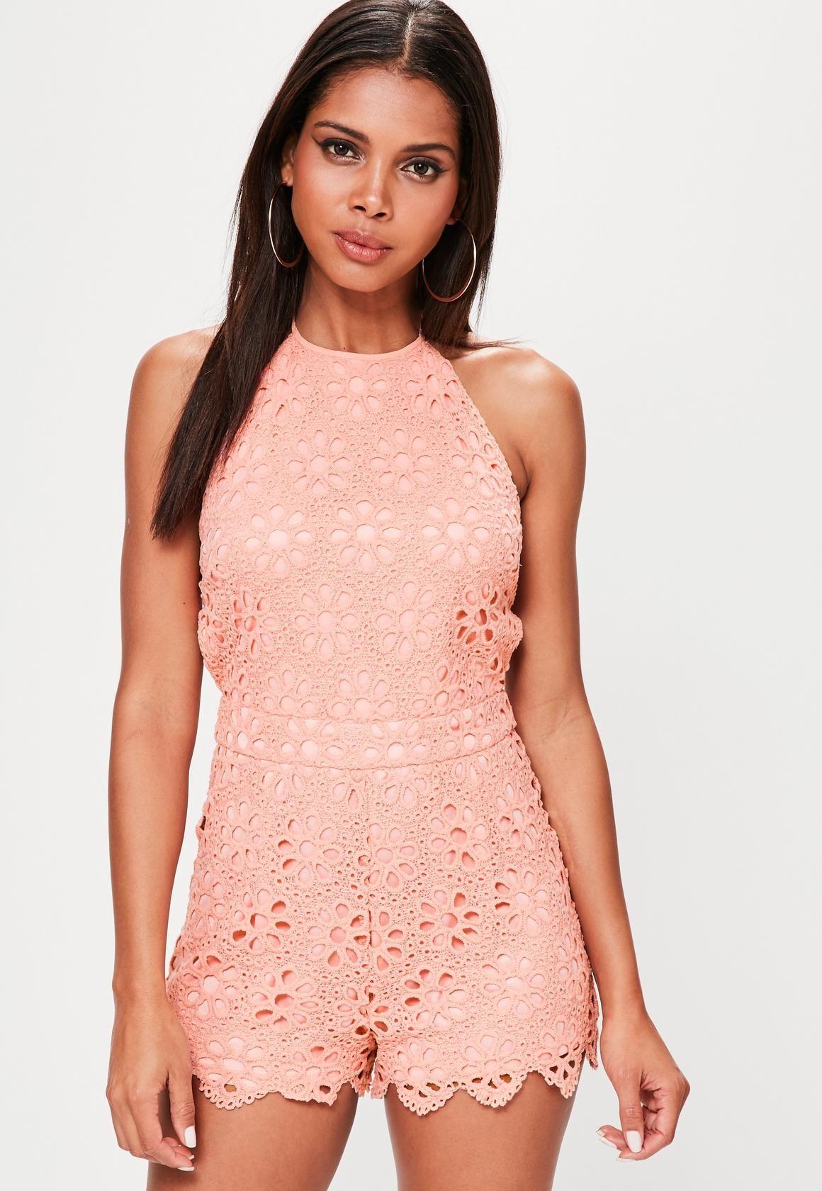 c3b20f9194 Missguided - Pink Halterneck Floral Lace Playsuit