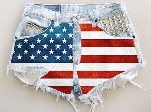 Bleach, ripped, american flag, single studded pocket, high wasted short shorts