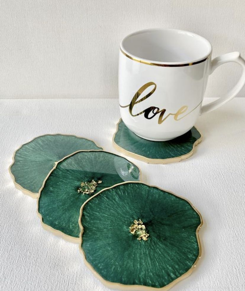 Emerald and gold resin geode coasters