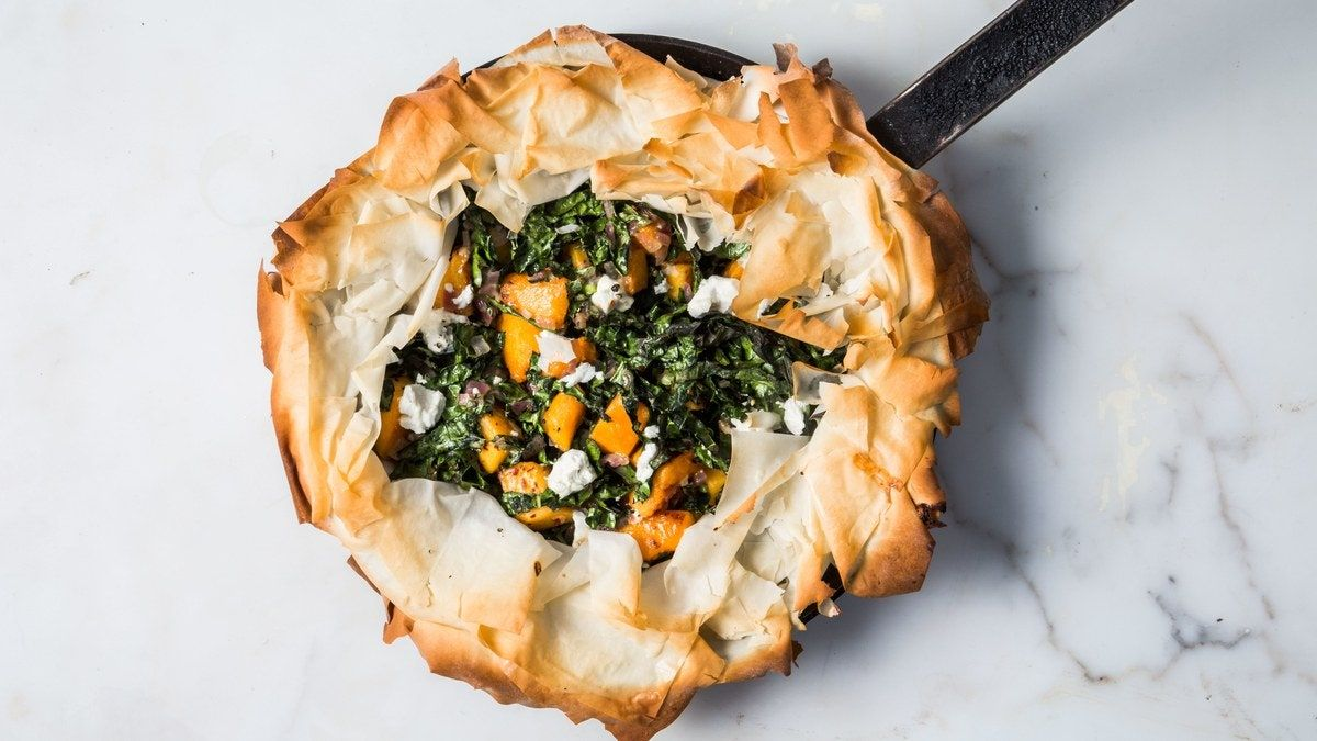 Photo of Skillet Phyllo Pie with Butternut Squash, Kale, and Goat Che…