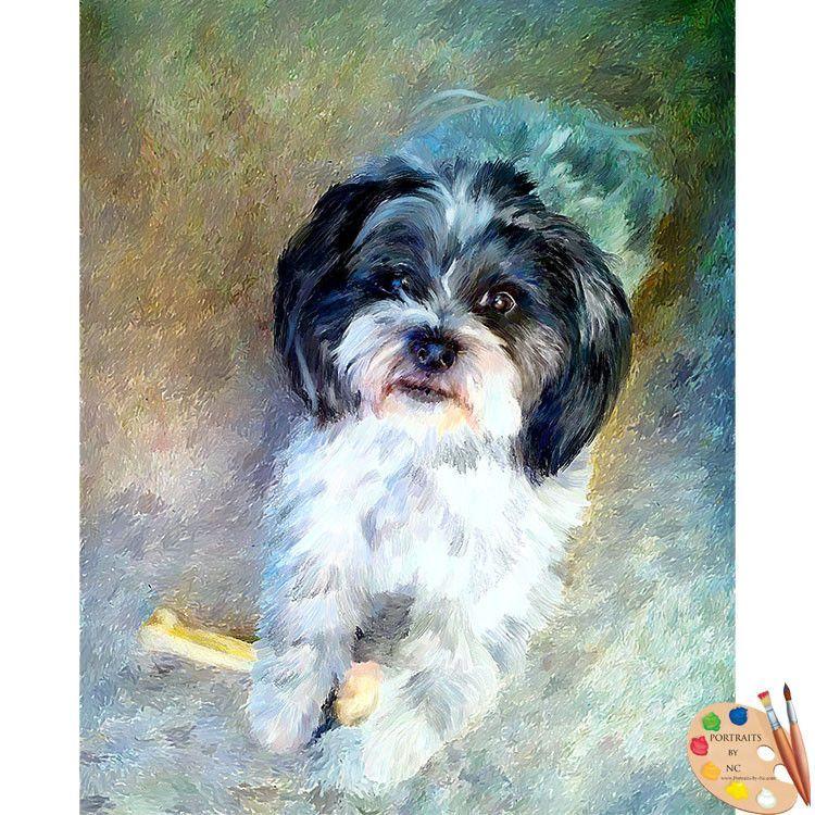 Shih Tzu Dog Digital Portrait Dog Portraits Dog Paintings Shih