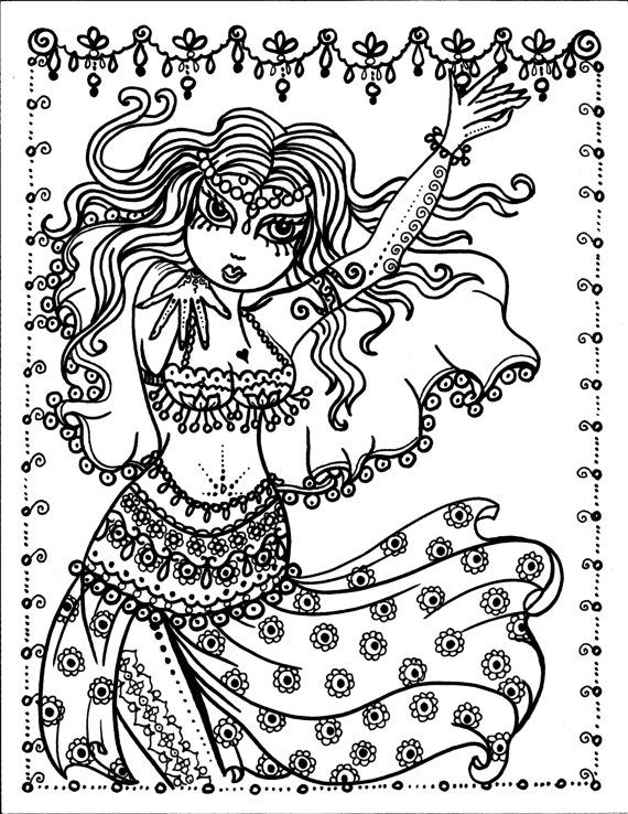 Belly Dancers Coloring Book Page colouring adult detailed advanced ...