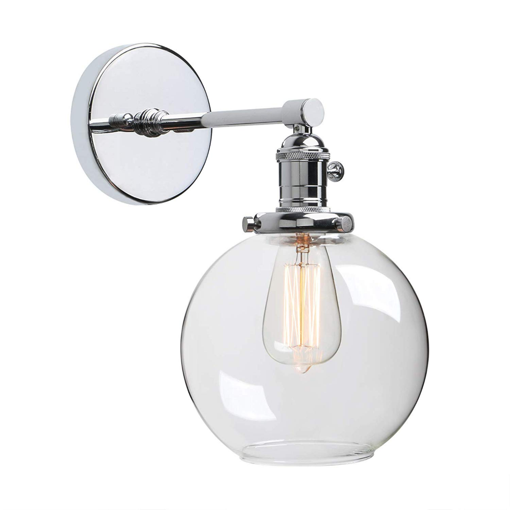 Phansthy 1 Light Vanity Light Chrome Polish Finished Industrial Wall Light Fixture With Switch And 7 87 Industrial Wall Lights Wall Lights Wall Light Fixtures