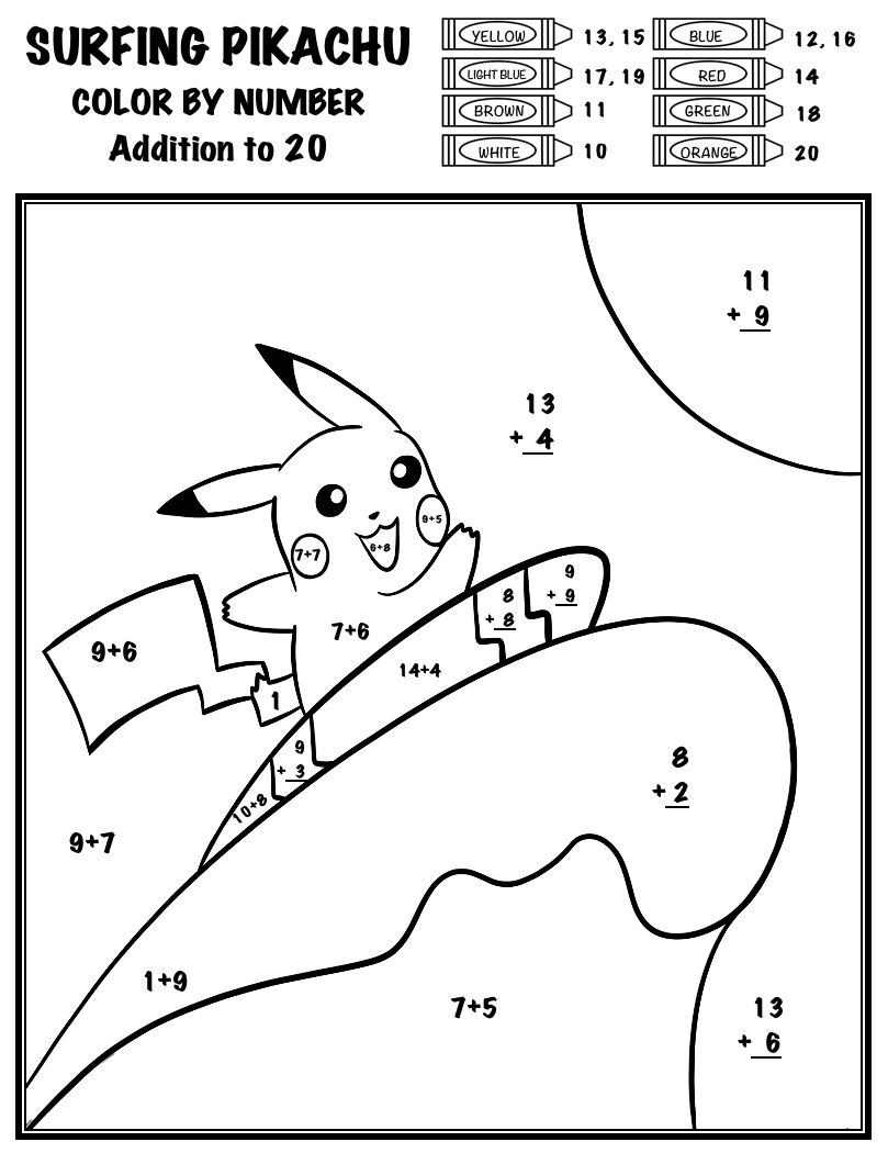 Pokemon Color By Number Add Subtract Multiply Divide Surfing Pikachu Pokemon Business For Kids School Age Activities