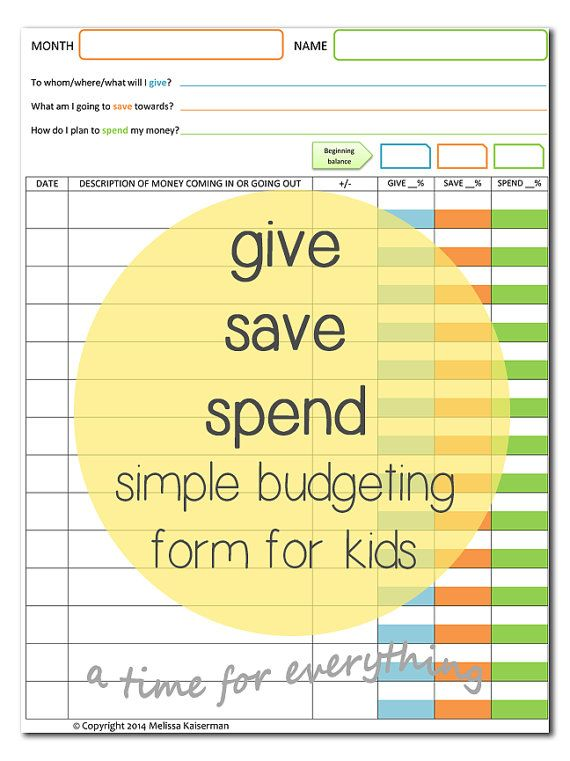 give save spend budget sheet printable for kids instant download - Kid Sheets