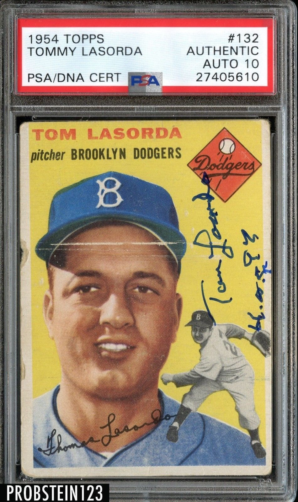 1954 topps 132 tommy lasorda dodgers rc signed auto hof