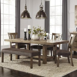 Kitchen Oak Veneer Wood Corner Bench Dining Table Set