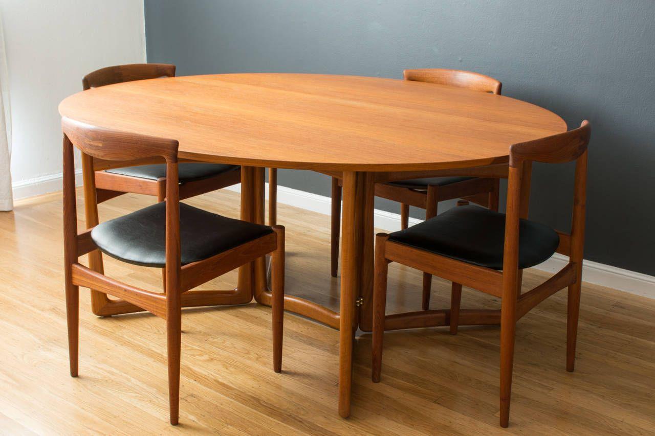 Danish Modern Drop Leaf Dining Table By Peter Hvidt Orla