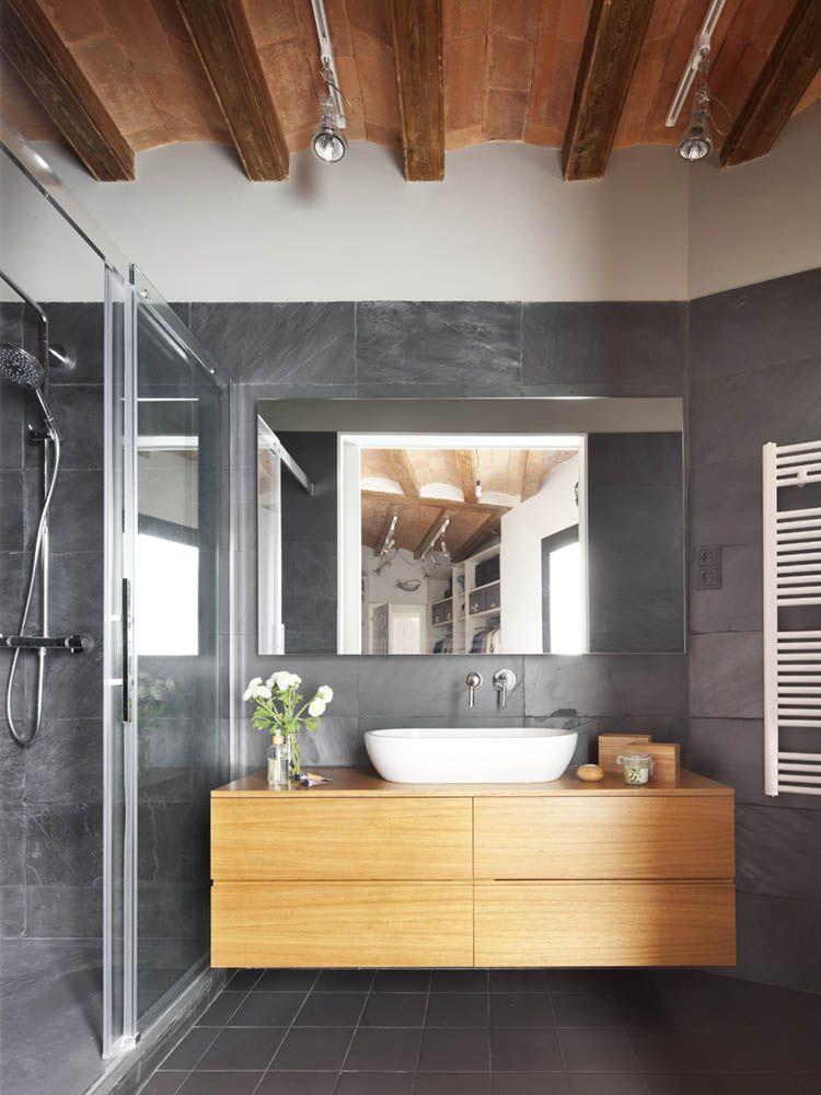 Salle de bain meuble bois et murs gris balinea Pinterest Murs