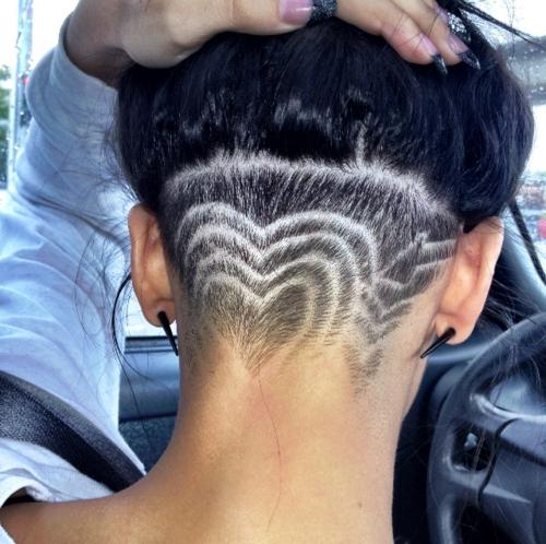 heart shaved undercut hair &