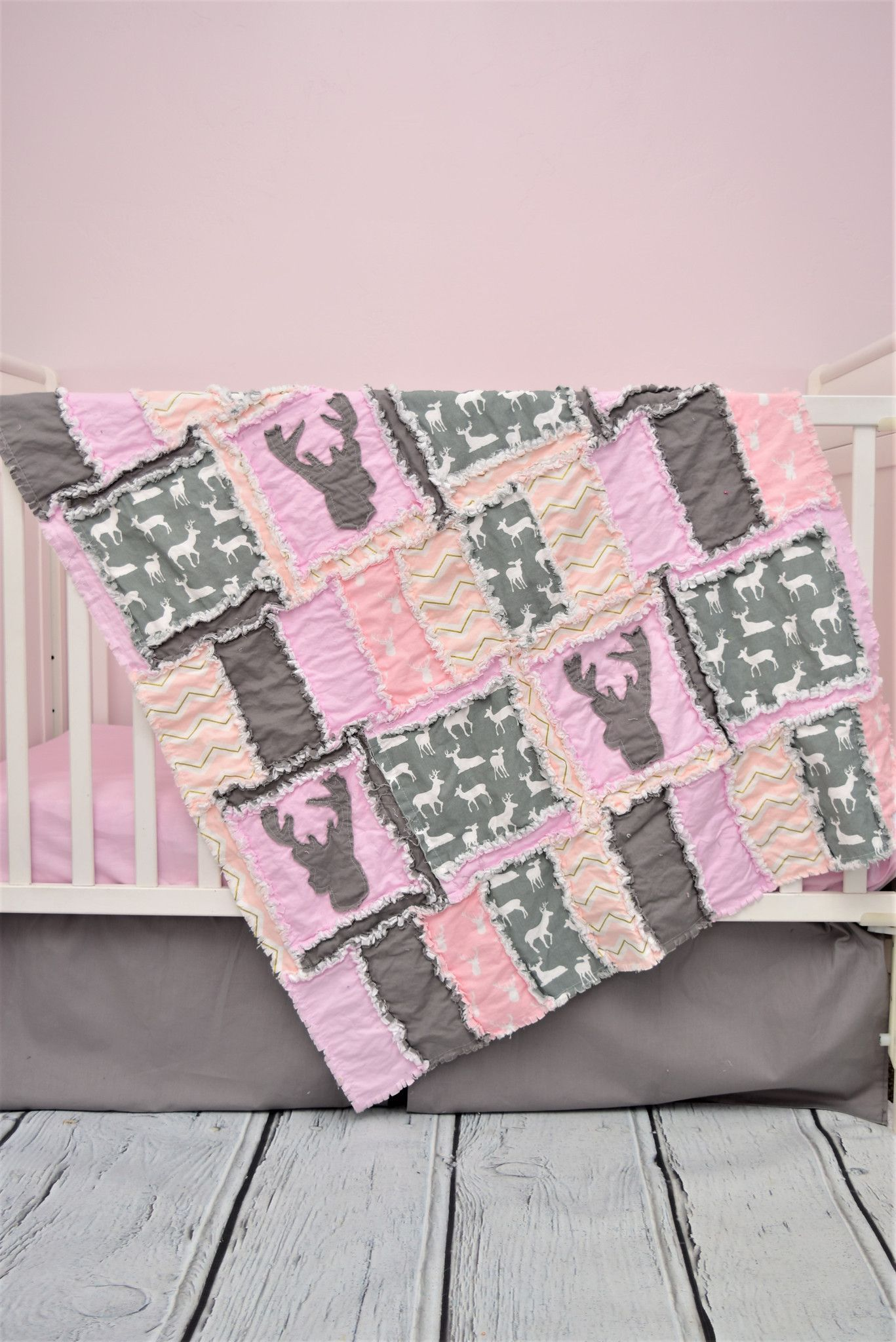 Baby girl crib bedding lady hunter style with deer heads appliques made in  woodland crib bedding