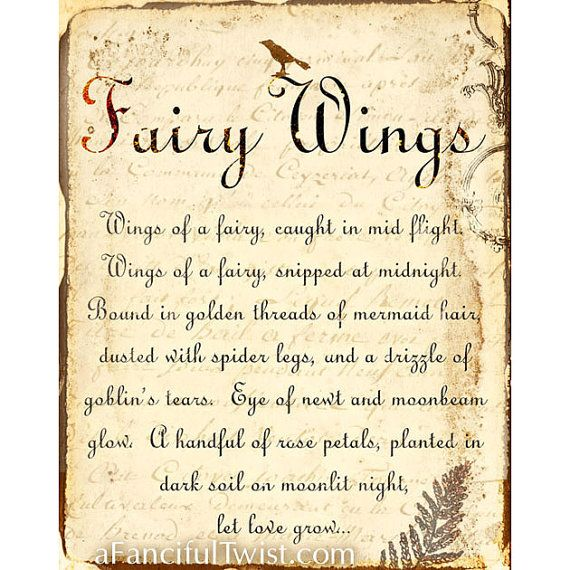 Fairy Wings Spell 8 X 10 Print By Afancifultwist On Etsy