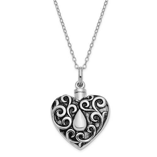 Sterling Silver Antiqued Grieving Heart Ash Holder 18in. Necklace by VincentsFineJewelry on Etsy