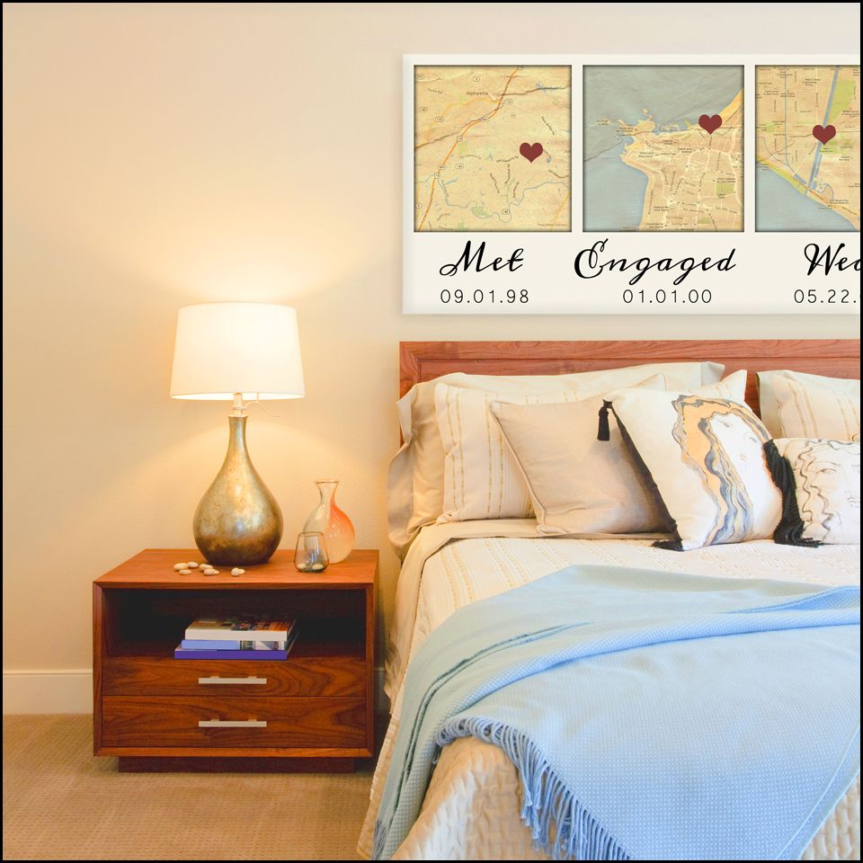 Over the Bed - Bedroom romantic wall Art Canvas Map Art THREE Maps ...