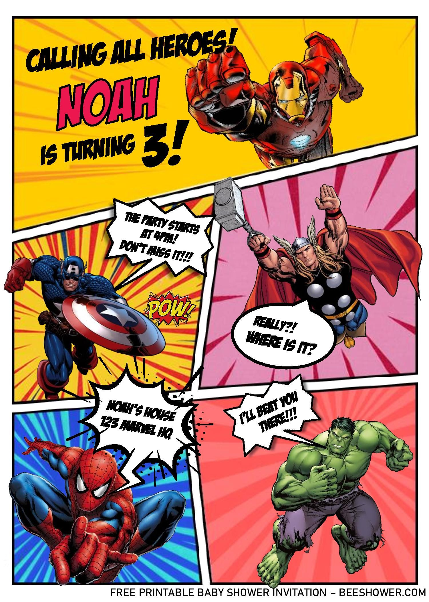 Superhero Comic Invitation Templates - Editable With Ms ...