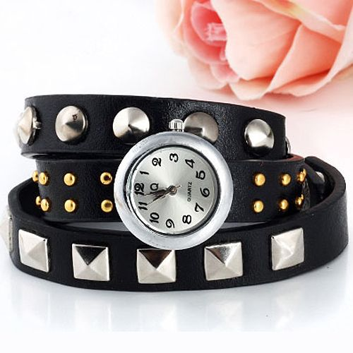 Roud Head Loopy Wrist Watch With Rivet On The Wide Leather Strap[US$4.80]