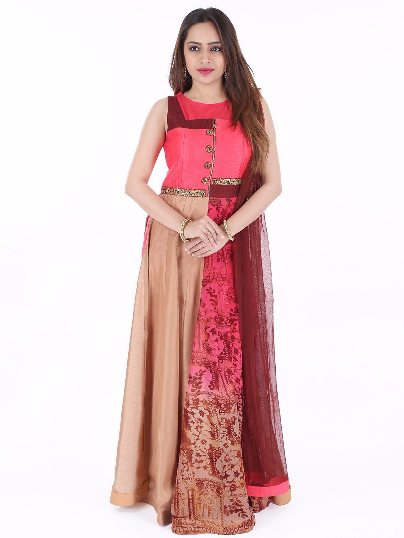 Raw silk wedding dress  Silk Wedding Peach Ready Made Anarkali Suit For price please