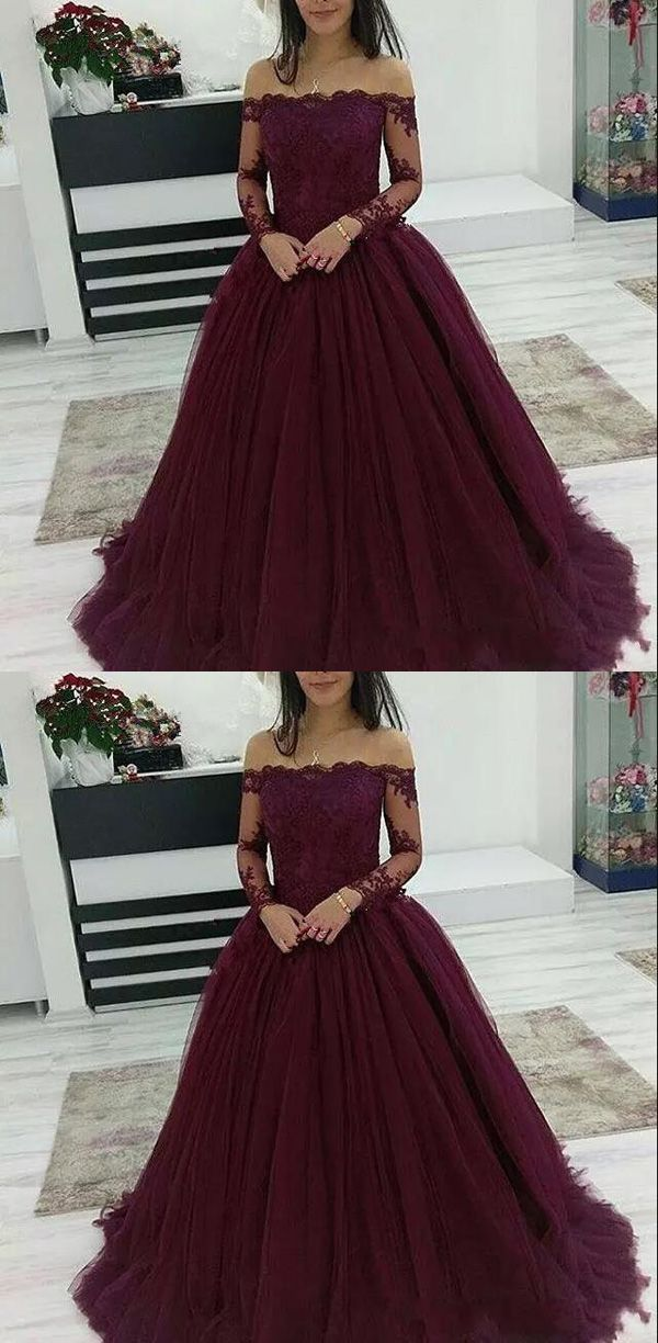 2019 Burgundy Ball Gown Prom Dress Off The Shoulder Tulle Wedding Party Dress Long Sleeve from Beloves – best gown