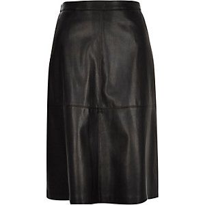 Black leather-look midi skirt