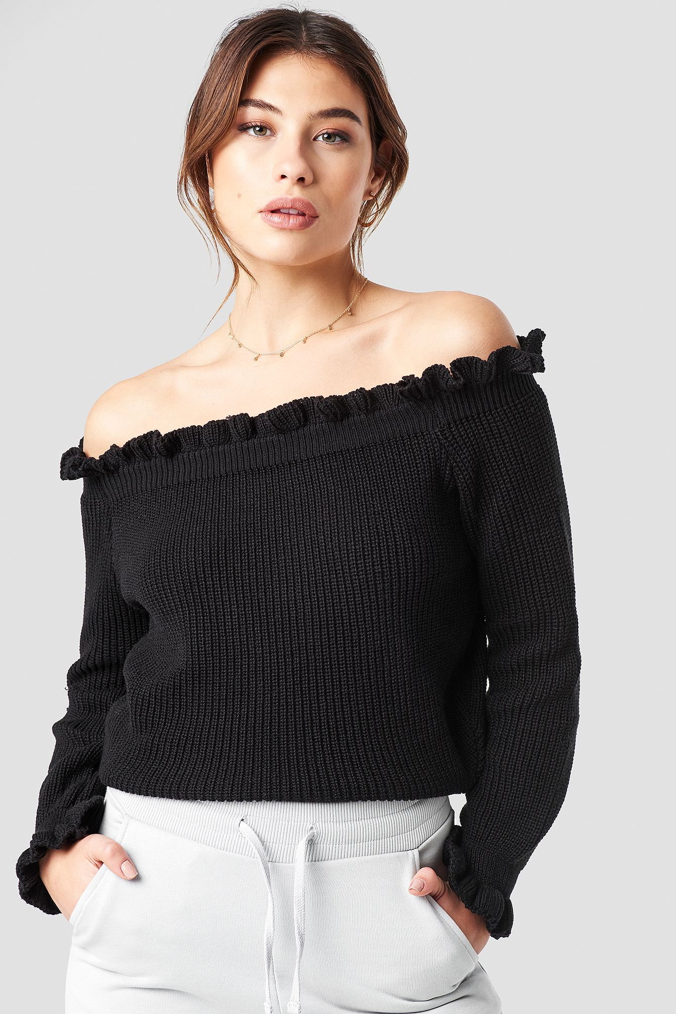 Ruffle Off Shoulder Knitted Sweater | Outfit in 2019 | Beige