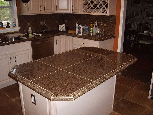 Kitchen Remodel With Granite Tile Countertops And Travertine Floor